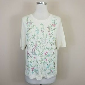 Talbots Beaded Floral Sweater Short Sleeve
